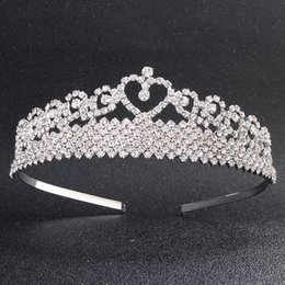 headpieces crystals tiaras NZ - Fashion Love Heart Austrian Crystal Tiaras and Crowns Princess Head Jewelry Wedding Dress Hair Accessories Headpieces JCI074