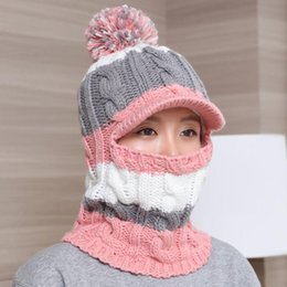 full face mask for winter NZ - Knit Scarf Skullies Beanies winter hats for women wool knitted balaclava full face mask cap plus velvet outdoor sports warm hat D18110102