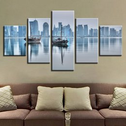 Art Canvas Prints Australia - Canvas HD Prints Pictures Home Decor 5 Pieces Doha City Building Paintings Boat Seascape Poster Living Room Wall Art Framework