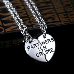 Wholesale Partner In Crime Necklace silver plated Best Friends BF Broken Heart Pendants for Women Men Jewelry Gift Drop Shipping