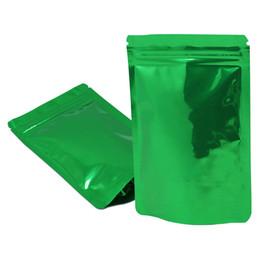 $enCountryForm.capitalKeyWord UK - 100Pcs lot Zip Lock Green Aluminum Foil Stand Up Package Bag Heat Sealable Mylar Tea Nuts Dried Flower Zipper Packing Pouch