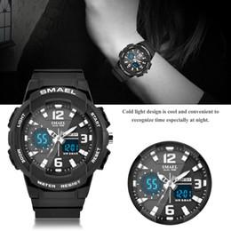 Digital Round NZ - 4 Colors Men Women SMAEL Waterproof Digital Analog Dual Display Watch Round Electronic Sports LED Outdoor Quartz Wristwatch