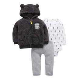 $enCountryForm.capitalKeyWord UK - 3 piece baby boy clothes set newborn boy animal model fleece Long sleeve jacket+cotton romper+pant gray Autumn winter outfit
