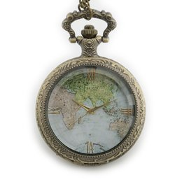 $enCountryForm.capitalKeyWord UK - 2018 New Arrival African&Asian Map Dial Pattern Hollow Antique Fob Watch with Chain Necklace Vintage Bronze Pocket Watch Gifts