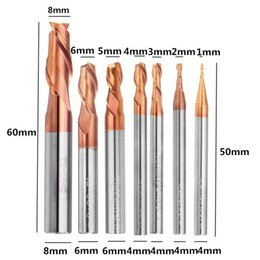 Coating Cnc Australia - 1-8mm 2 Flutes Tungsten Carbide End Mill Cutter HRC55 AlTiN Coating CNC End Mill Tool