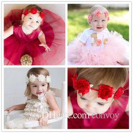 New Baby Headbands Shabby Fabric Golden Leaf Flower Headband Fashion Infant  Kids Elastic Hairbands Children Girls Hair Accessories KHA310 5db18229e546