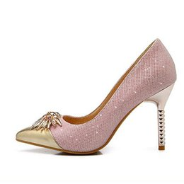 Elegant light pointed mouth fine with high heels color matching single  diamond set foot shoes gold silver party female fashion f3d6e87bac66