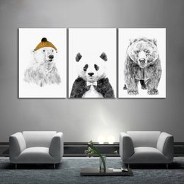 $enCountryForm.capitalKeyWord NZ - Black and White Nordic Minimalist Polar Bear Picture Unframed Canvas Painting for Living Room Home Decoration Wall Art Poster and Prints