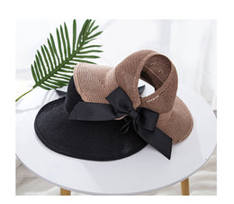 Brown Paper Rolls Australia - 2018 new Womens Empty Top Beach Sun Hat UV Protective Roll-Up Summer Visor Solid color with Bowknot Femal Paper Straw Hat outdoor fashion