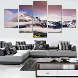 art canvas prints Australia - New 5 Pieces Canvas Art Snow Mountain Posters Decorations for Home Painting Canvas Modular Picture High Quality Living Room Wall Prints