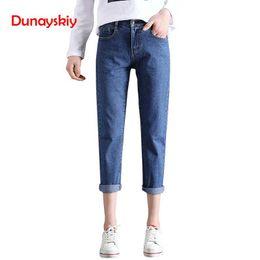 ee2de8ee7 Mulheres Jeans Plus Size Solto Cintura Alta Denim Jeans Harem Pants  Ocasional Básico Namorado Magro Branco Preto Azul Calças Dunayskiy