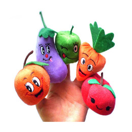 cute puppets UK - Wholesale Cute Fruits and Vegetables Soft Finger Puppets Set for Children Early Development Learning Education Toys Gifts For Kids