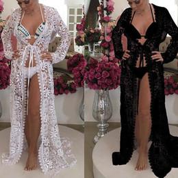 68798ee965f4 New Fashion Women manica lunga ricamo bikini grembiule grembiule scava fuori  Vedi attraverso costumi da bagno copertura Beach Wear nero bianco abito  lungo ...