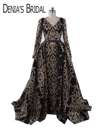 2018 Черный блеск знаменитости платья оболочка V шеи с длинными рукавами Сплит платья со съемной пухлые бальное платье юбка вечерние вечерние платья