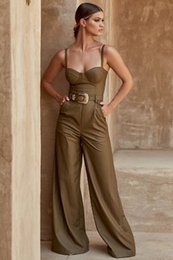 $enCountryForm.capitalKeyWord Australia - High Quality Sexy Women Strapless Rayon Synthetic Leather Sashes Jumpsuit Evening Party Fashion Loose Jumpsuit