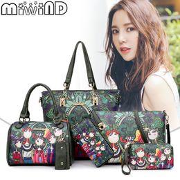 MIWIND 2018 Women Handbag Leather Female Bag Fashion Cartoon Shoulder Bag  High Quality 6-Piece Set Designer Brand Bolsa Feminina dabab4d39ccfc