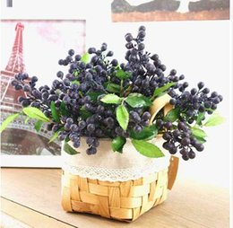 Wholesale 10pcs Decorative Blueberry Fruit Berry Artificial Flower Silk Flowers Fruits For Wedding Home Decoration Artificial Plants