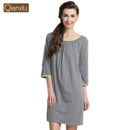 ladies nightgowns half sleeves NZ - 2016 Spring Summer Brand Homewear Women Casual nightdress with sashes Ladies soft Modal dress Female Half sleeve sleepwear dress