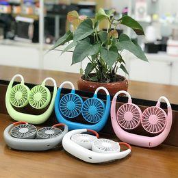 Travel fan online shopping - Hanging Neck Fan Colors USB Charging Travel Portable Sports Fan Lazy Creative Mini Fans Novelty Items OOA5546