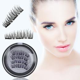 false eyelashes natural human hair 2019 - New 4pcs Easy Wear 3D No Glue Magnetic Eyelash False Eyelash 3 Magnet Full Strip Magnetic Lashes Reusable Fake Eye Lashe