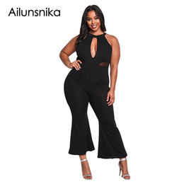 25d78583ea82 wholesale Plus Size Jumpsuits For Women 2018 Summer Sleeveless Cut Out Mesh  Trim Flared Clubwear Overalls Long Rompers DL64360