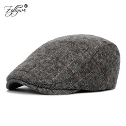 Zgllywr Berets Cap for Men Women Autumn Winter Classic Plaid Woolen Newsboy  Hat Fashion Vintage Visors Ivy Cabbie Caps for Male d9e4c78e04ce