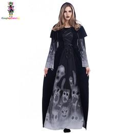 950a942315f Черный Хэллоуин взрослых страшно скелет длинные платья для женщин