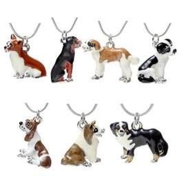 Wholesale Dog Lover Gifts NZ - Pet Jewelry Fashion Colorful Oil Drip 3D Dog Pendant Necklace For Women Men Animal Lovers Best Gift