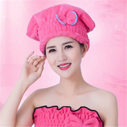 Yellow Towels Sale NZ - 1pce Hot sale High quality Microfiber Solid Quickly Dry Hair Hat Womens Girls Ladies Cap Bathing Tool Drying Towel Head Wrap Hat