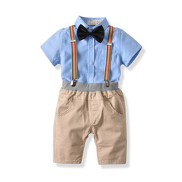 China Newborn Boy Clothing Sets Summer Cotton Gentleman Fashion Rompers Jeans Shirt 2Pcs Clothing Set Newborn Infant Clothing suppliers