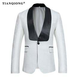 $enCountryForm.capitalKeyWord Australia - TIAN QIONG Blazer Men 2017 New Embroidery Slim Mens White Pattern Casual Suit Jacket S-3XL Party Wedding Groom Prom Blazers