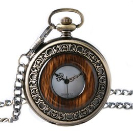 $enCountryForm.capitalKeyWord Australia - Vintage Pocket Watch Hollow Wood Grain Circle Floral Carving Pendant Chain Refined Men Women Clock Special Thanksgiving Day Gift