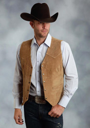 brown suede vest NZ - 2018 Airtailors Mens Brown Silky Cow Suede Leather Embossed Snap Western Vest for Rustic Wedding Brown Plus Size