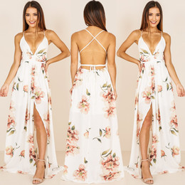 ingrosso lunghi abiti in boemia xxl-Deep V Collo Voto Bianco Donne floreali Dress Off Spalla Sexy Strap Summer Beach Dresses Backless Spaghetti Strap Maxi Long Vestidos Bohemian Cuaf