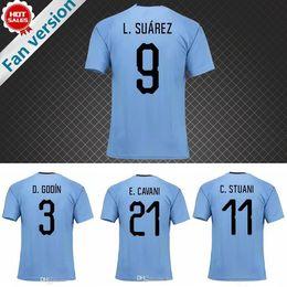 4edec65f3 2018 World Cup Uruguay Soccer Jersey L.SUAREZ E.CAVANI D.GODIN C.STUANI  D.FORLAN J.M.GIMENEZ national team jerseys thail football shirts