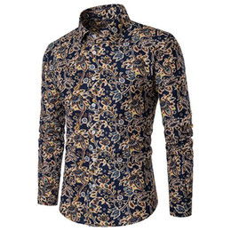 Male Clothing Styles Canada - Vintage Print Men Blouse Classic Fashion Floral Printed Shirts Spring Clothes Long Sleeve Shirt Male Blusa Style Big Size