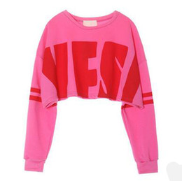 fashion for short girls NZ - Fashion England Sweatshirts Vogue Oversize YES Print Pullover Sweatshirts for Girl Streetwear Long Sleeve Short Style Sweatshirts Pink Tops