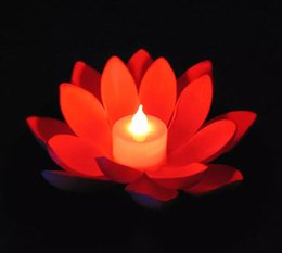 Floating Flowers candles online shopping - Popular Artificial LED Candle Floating Lotus Flower With Colorful Changed Lights For Birthday Wedding Party Decorations Supplies Ornament
