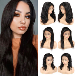 body wave wig cap hairstyles 2019 - Brazilian Virgin Hair Straight Lace Front Wigs Unprocessed Deep Wave Human Hair Lace Wigs For Black Woman Body Wave Free