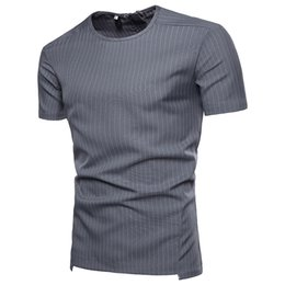 Wholesale personalize t shirt for sale – custom Summer Casual Fashion Men s T Shirts Vertical Stripes Crew Neck Short Sleeves Shirts Personalized Zipper Polo Shirts New Brands for Men Tops