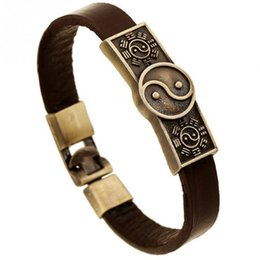 Chinese  Punk Fashion Yin and Yang Pattern Faux Cowhide Alloy Bracelet Jewelry manufacturers