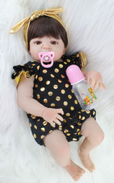 Realistic Girls Toys Australia - 55cm Full Silicone Body Reborn Baby Doll Toy Realistic Newborn Princess Babies Doll With Earring Girl Brinquedos Bathe Toy