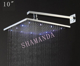 Discount wall mount ship lighting - Free Shipping 10 inch LED shower head with brass 250*250 self-powered led shower head light three color 20012