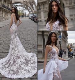 Discount sexy beach lace wedding dresses mermaid - Sexy Mermaid Wedding Dresses 2019 Julie Vino New Design Open Back Illusion Vintage Lace Vestido De Novia with Overskirt