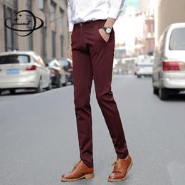 Men S Long Wedding Suit Australia - YAUAMDB men suit pants 2017 autumn winter size 28-40 cotton male soild business long trouser formal wedding casual dress pant 90