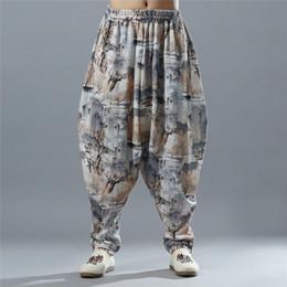 Men Big Crosses Canada - 2018 New Nepal Style Cross Pants Men Cotton Linen Pattern Baggy Oversized Travel Pants Big Crotch Extra Loose Bloomers