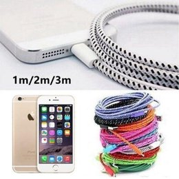 Iphone Sync 3m NZ - Multicolor Braided 1M 2M 3M USB Data Sync Cable Charger Line for iPhone IOS USB Sync Data Cable Charging Line