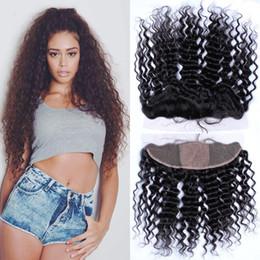 virgin brazilian 4x4 silk closure 2019 - 4x4'' Silk Top Lace Frontal Closure Human Virgin Brazilian Hair Deep Wave Ear to Ear 13x4 Silk Base Lace Front