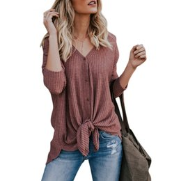 a5efacef1e20 Women Casual Long Sleeve V Neck Thin T Shirt Top 2018 Spring New Open  Stitch Cardigan Ladies Femme Jacket Outwear Button T-shirt S18100903