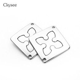 stamp square NZ - Ckysee 5Pcs lot Stainless Steel Square Pendants Engraved Cross Pattern Blank Stamping Tag Pendant Diy Necklace Jewelry Making